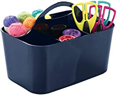 mDesign Plastic Portable Craft Storage Organizer Caddy Tote, Divided Basket Bin for Craft, Sewing, Art Supplies - Holds Paint Brushes, Colored Pencils, Stickers, Glue, Yarn - Small - Navy Blue