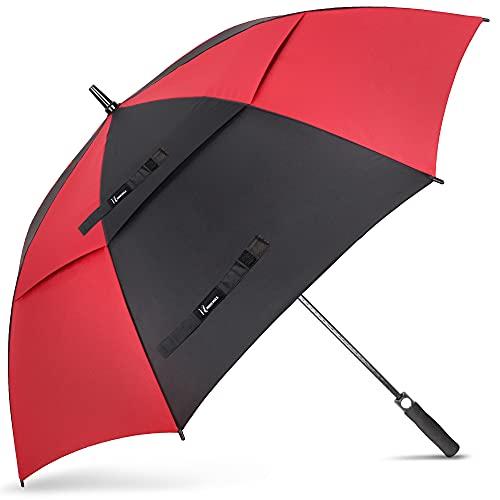 NINEMAX Regenschirm Groß, Regenschirm Sturmfest, Doppelt Überdachung Belüftet, Golf Stockschirm Automatik Auf, Regenschirm XXL Für 2-3 Personen, 62 Inch/ 155 CM, Schwarz/Rot