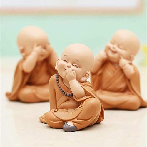 L.TSN Estatua de pequeño Monje, Escultura de Buda Tallada a Mano de Resina, Accesorios de decoración para el hogar, Coche, Regalo, pequeña Estatua de Buda creativos Shaolin