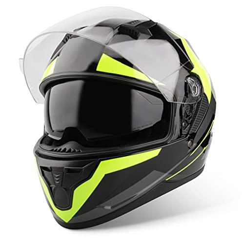 Vinz Becket Integralhelm mit Sonnenblende | Motorrad Helm Vollvisierhelm Mopedhelm | Motorradhelm Full-Face Helme | In Gr. XS-XL - Fluor Gelb