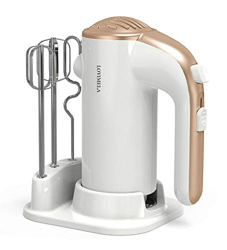 Hand Mixer Electric 300W 5 Speeds Lightweight Powerful Handheld Cake Baking Mixer Kitchen Mixer with Beaters Dough Hooks, Whipping Mixing Cookies, Brownies, Cakes, Dough, Batters, Meringues