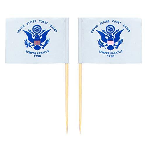 Yiran Cure-Dents Drapeau 100 pcs/Ensemble Américain Police Jardin Maison À La Main Tenue Fruits Bâton Fade Résistant Bureau Décor Fête Parades Bar Mini Portable Papier(Garde-côte)