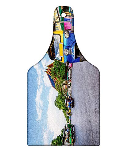 Lunarable Thai Cutting Board, Bangkok City Tourism Colorful Tuk Tuk Transportation Busy Roads Clear Sky Cityscape, Decorative Tempered Glass Cutting and Serving Board, Wine Bottle Shape, Multicolor
