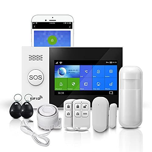 PGST Sistema de alarma de seguridad antirrobo PG-107, pantalla táctil de 4.3 pulgadas WiFi + GSM + GPRS inalámbrico antirrobo alarma, App Remote Smart Security System para el hogar