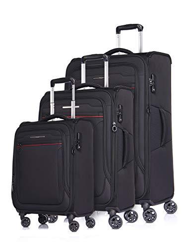 Verage Toledo Weichgepäck 4 Doppelrolle Trolley Set 3-teilig Weichschale Kofferset S M L, erweiterbar, TSA-Schloss, mit Stoff Handgepäck-Koffer Schwarz