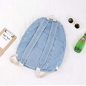 41TB2blIG+L. SS300  - KEROUSIDEN Mochila de Jeans Retro Art Institute Viento Mochila de Lona Color Puro Simple par de Bolsa de Viaje de Gran Capacidad 32cm*40cm*15cm, Azul Claro