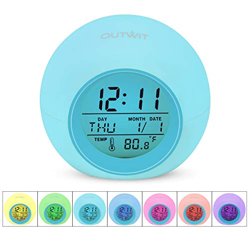 OUTWIT Kids Alarm Clock【2020 Version】, Wake Up Digital Clock for Boys Girls, 7 Colors Changing...