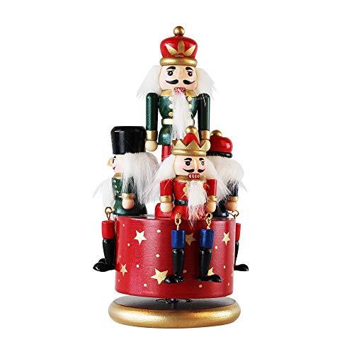 LINGSFIRE Caja de música cascanueces de madera,  decoraciones navideñas,  4 figuras de soldados,  caja musical con reloj y base redonda para decoración del hogar,  adornos de Navidad,  regalo de 21 cm