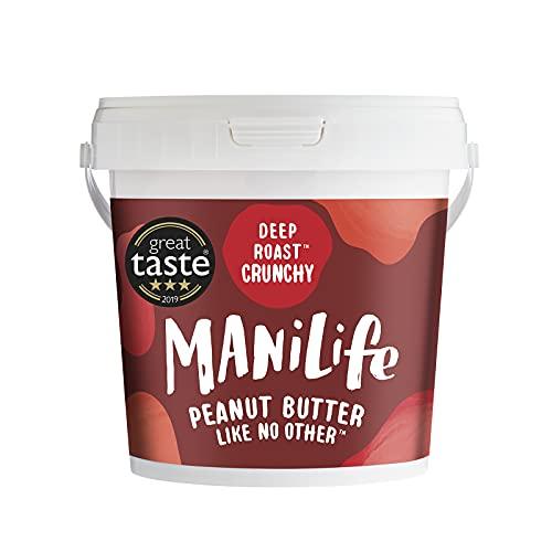 ManiLife Mantequilla de Cacahuete - Peanut Butter - Natural, de Origen único, sin Aditivos, sin Azúcar Añadida, sin Aceite de Palma - Crujiente Tostado Profundo - (1 x 1kg)