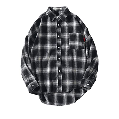 Camisa De Manga Larga A Cuadros Informal para Hombre De OtoñO Camisa A Cuadros CláSica Retro Suelta Abrigo Fino