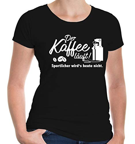 """BuXsbaum® damski dziewczęcy t-shirt z napisem """"Der Kaffee lauf"""""""