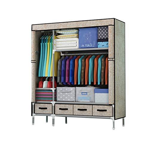 MFASD kledingkast van stof met schuifladen, draagbaar, kledingkast, canvas, kast met stang