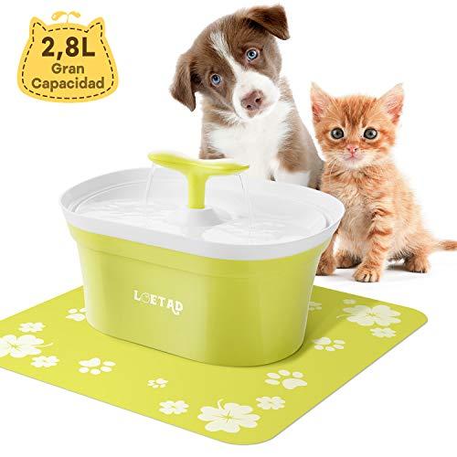 LOETAD Fuente de Agua para Mascotas Silenciosa con Almohadilla de Silicona Impermeable en Forma de Retoño y 3 Modos Ajustables Bebedero Automático Eléctrico 2.8L con Filtro de Carbón