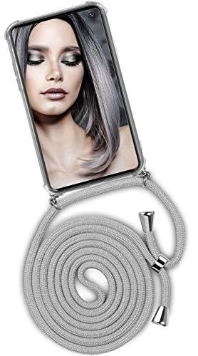 ONEFLOW® Handykette kompatibel mit Samsung Galaxy S10e - Handyhülle mit Band zum Umhängen Hülle Abnehmbar Smartphone Necklace - Hülle mit Kette, Silber Hell-Grau