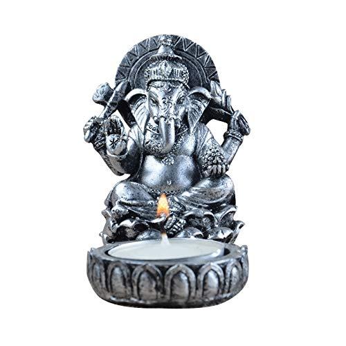 LKXZYX Estatua de Ganesha candelabro India Tailandia Elefante Dios Resina estatuilla Escultura Oficina en casa Bar Escritorio decoración Adorno Regalo