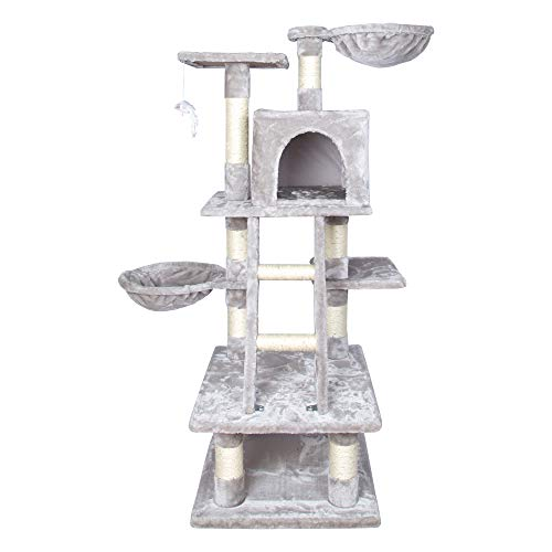 LARS360 Kletterbaum Kratzbaum mit Hängematte Höhle Spielmaus Katzenmöbel Höhe 120cm Farben Grau (Grau, Typ A)