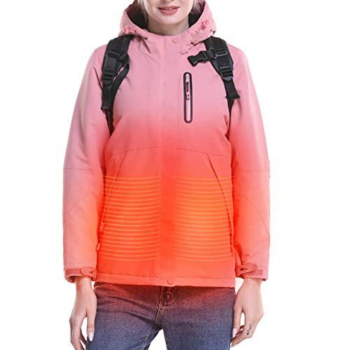 Q&M Elektrisch heren-sweatshirt, warm, met capuchon, verwarmde jas, outdoor-kleding voor sport, wandelen, winter, ski-jack