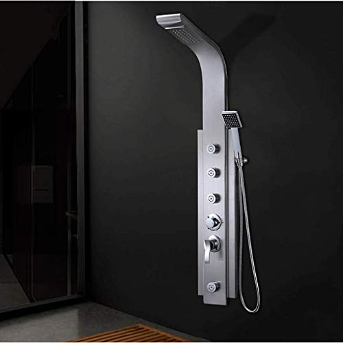 Luxury Brass Shower Panel Column Tower Set Rainfall Shower System Shower Column Set Wall-Mounted Exposure with Overhead Rain Shower and with 4 Function Shower Polished Chrome,Fixed Showerheads
