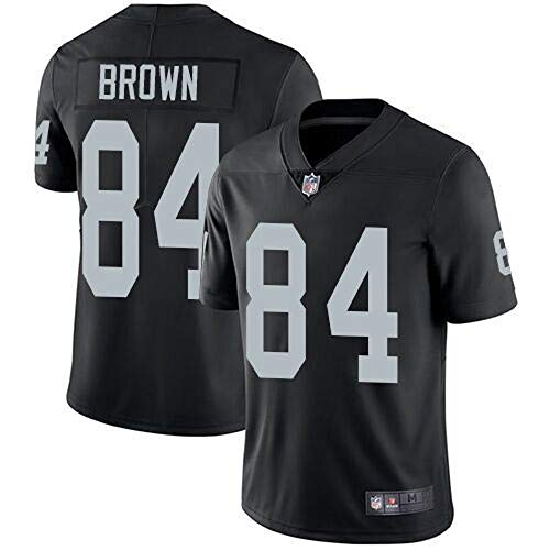 Mitchell & Ness Oakland Raiders #84 Antonio Brown Men's Limited White Stitch Jersey (Black, L)