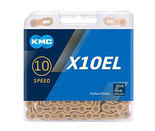 """KMC Unisex– Erwachsene X10 EL TiNi X10EL Ti-N 10-Fach Kette 1/2"""" x11/128, 114 Glieder, Gold, Beschichtung"""