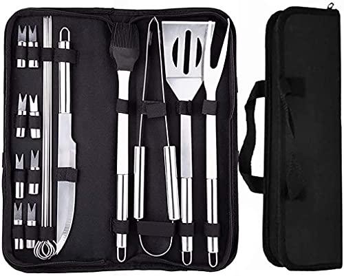 Laufunjoy - Juego de 18 utensilios para barbacoa de acero inoxidable, cepillo para barbacoa, tenedor, brochetas para jardín, exterior, senderismo y viaje