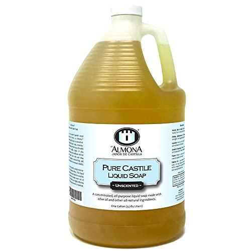 La Almona - Pure Castile Liquid Soap, Unscented, 1 Gallon