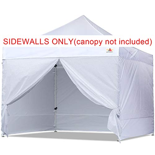 ABCCANOPY Sidewall Kit, Paint Booth Side Walls for 10x10 Feet Pop up Canopy, Beach Tent, Instant Shelter, 4 Walls ONLY, White