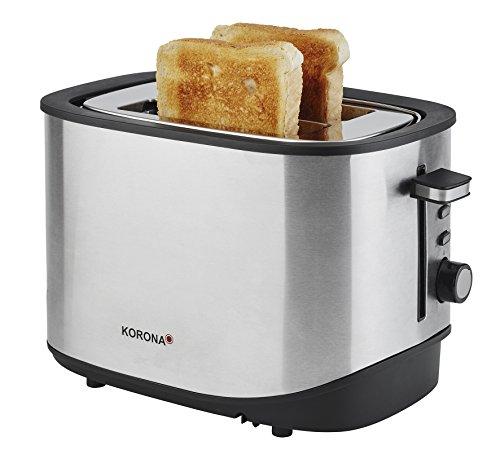 Korona 21252 Toaster, 2 Scheiben, schwarz Edelstahl, auftauen, rösten, aufwärmen