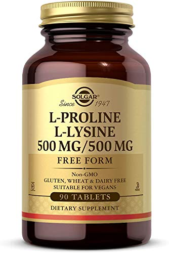 Solgar L-Proline/L-Lysine (500/500 mg), 90 Tablets - Supports Collagen Production for Healthy Skin & Lips - Essential Amino Acids - Non-GMO, Vegan, Gluten & Dairy Free, Kosher - 90 Servings