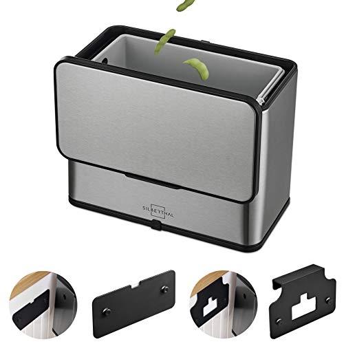 SILBERTHAL Petite Poubelle De Table en INOX - 3L - sans Odeur - Composteur Bio - 8 Filtres - Bac à Compost avec Couvercle