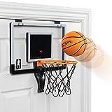 Majik Buzzer Beater Over-The-Door Hanging Mini Basketball Hoop for Indoor Play - Pro-Style Backboard and Breakaway Rim, red (SG_B077DMW54S_US)