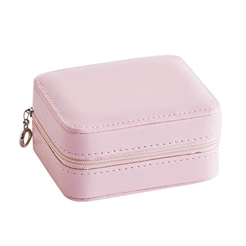 Jewelry Box for Women, Three-Layer Jewelry Box, PU Leather, Jewelry Box with Mirror And Zipper, Portable, for Earring Bangle Bracelet Necklace And Rings Storage, 11*9*5.5Cm/4.33*3.54*2.17In,Pink