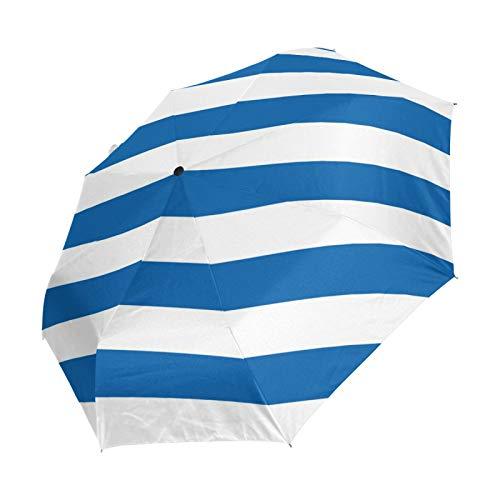 Ahomy Faltbarer Regenschirm mit horizontalen Streifen, Regenschirm, winddicht, automatisch, Sonnenschutz, kompakter Reiseschirm für Damen und Herren