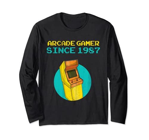 Arcade Gamer Vintage Classic Retro 80's Cabinet 1987 Maglia a Manica