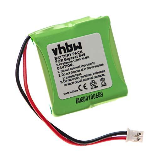 vhbw NI-MH Akku 650mAh (2.4V) für Handy, Smartphone, Telefon Siemens Gigaset E40, E45, E450, E455, Swisscom Aton CL-102 wie V30145-K1310-X382.