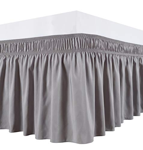 Biscaynebay Wrap Around Bed Skirts with Adjustable Belts, Silver Grey for Queen Size Beds 15 Inches Drop, Elastic Dust Ruffles, Easy Fit Wrinkle and Fade Resistant Silky Luxurious Fabric Solid Color