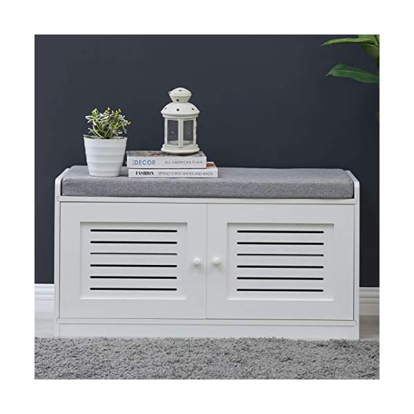 Sturdis Shoe Storage Bench White – Cushion Seat – Adjustable Shelves...