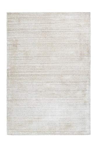 moebeldeal Teppich Viskoseteppich Highlands 85% Wolle, 15% Viskose Elfenbein/Silber, Wolle+ Viskose 160 x 230 cm Wohnzimmer Läufer Schlafzimmer hochwertig