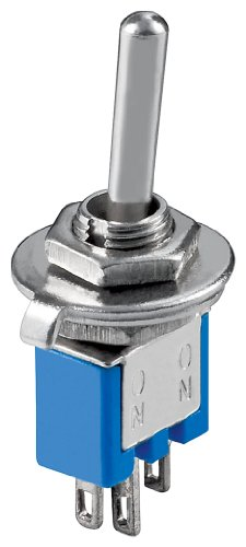 Goobay 10014 Kippschalter Subminiatur, 1x UM, 3 Pins, blaues Gehäuse