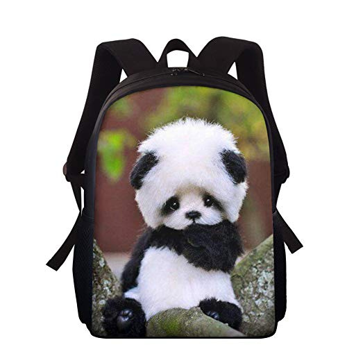 HXA Cute Panda Book Bag for Kids Animal Printed Primary Student Backpack 15 Inches Lightweight Schoolbag for Teen Boys Girls,A
