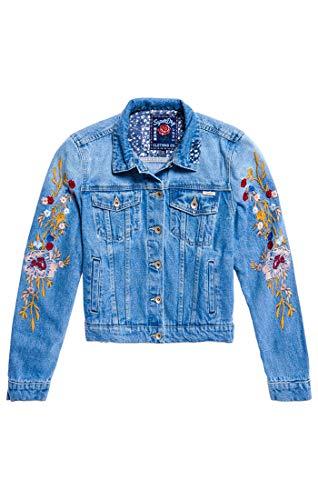 Superdry Damen Denim Girlfriend Jacket Jeansjacke, Blau (Boutique Blue Bho), Small (Herstellergröße: 10)