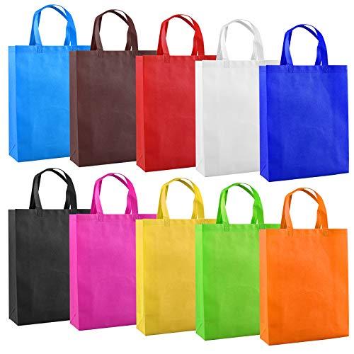 Bolsas de Cumpleaños, Bolsas Reutilizables No Tejidas, Bolsas de Tela con Asas para fiestas navideñas, bodas (20 piezas, 10 colores
