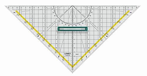 LINEX 100414079 32 cm großes Geodreieck 2632 mit Facette, abnehmbarem Griff und Tuschenoppen