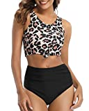 zeyubird High Waisted Bathing Suits Women 2 Piece Knot Top with Modest Swimsuits for Women Floral Printed Bikini Bottoms Leopard M