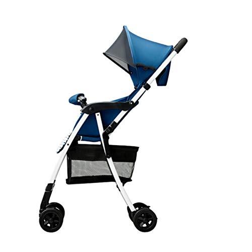 KPDVXA Baby kinderwagen lichtgewicht baby paraplu kinderwagen opvouwbare schokdemper magische licht wind hoog landschap zomer blauwe ridder zwart