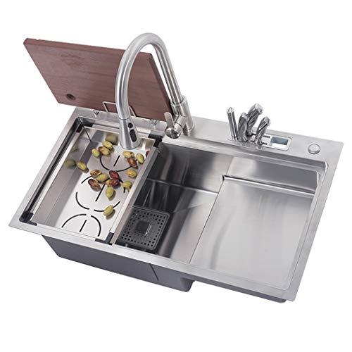 Fregadero de cocina de acero inoxidable de alta calidad de 78 × 46 cm 3 mm de espesor Diseño hecho a mano Tazón empotrado con colador Accesorios para tuberías de desechos