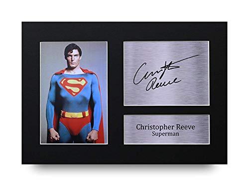 HWC Trading Christopher Reeve A4 Sin Marco Regalo De Visualización De Fotos De Impresión De Imagen Impresa Autógrafo Firmado por Superman Los Aficionados Al Cine