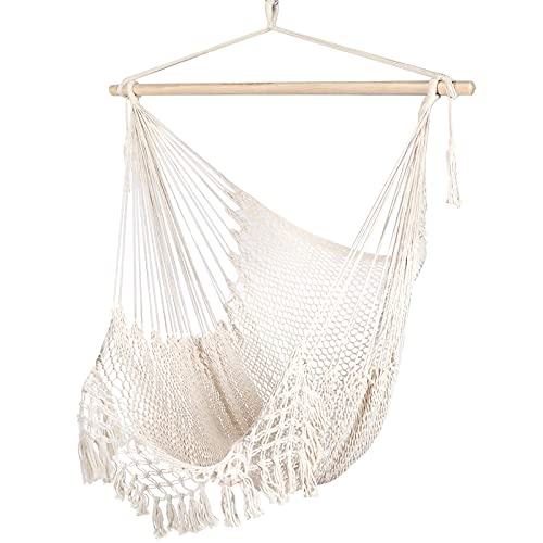 Chihee Hammock Chair Super Large Hanging Chair Soft-Spun Cotton Rope Weaving Chair, Hardwood Spreader Bar Wide Seat Lace Swing Chair Indoor Outdoor Garden Yard Theme Decoration