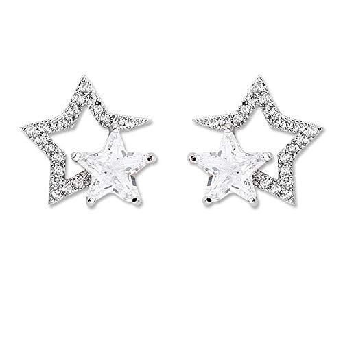 CJMDEH Pendientes De Moda para Mujer,La Moda 925 Silver Needle Temperamento Tassel Earrings Wild Zircon Hipoalergénica Colgante Estrella De Cinco Puntas De Boda Joyas