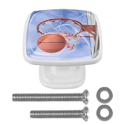 Gabinete perillas y tiradores Canasta de baloncesto, cielo azul Perillas para estanterías Perillas cuadradas para muebles para niños Juego de 4 3x2.1x2 cm